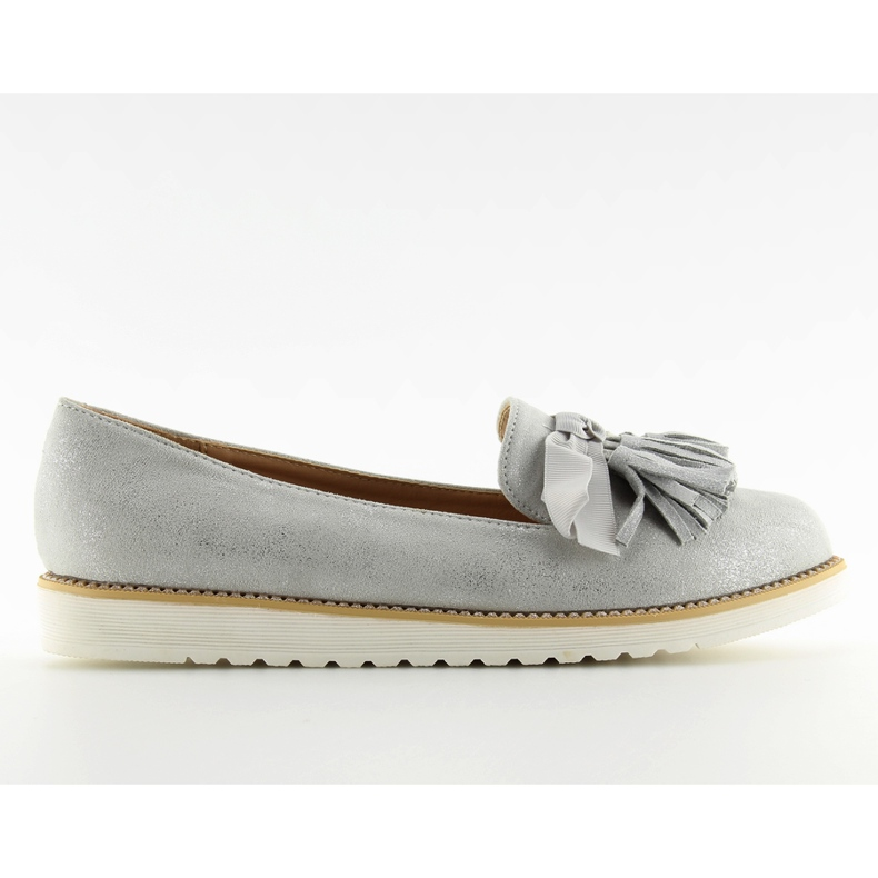 Women's loafers with gray gray tassels grey