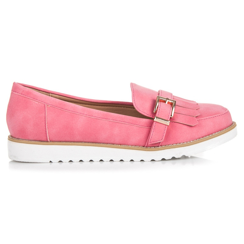Vices Moccasins with an ornate buckle pink