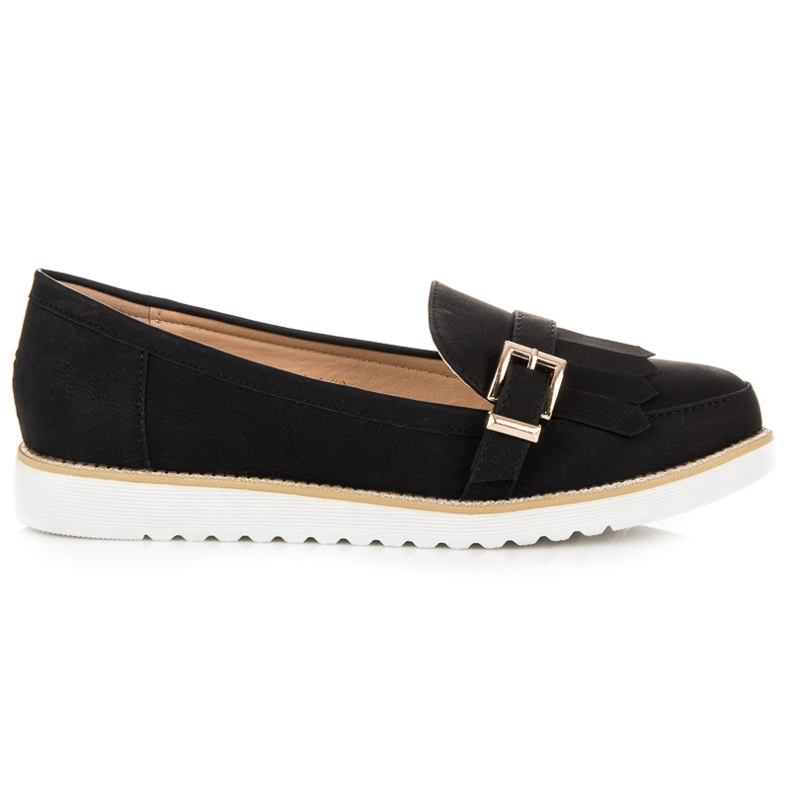 Vices Moccasins with a decorative buckle black