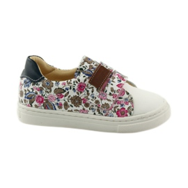 Girls' shoes for flowers Bartuś pink brown white