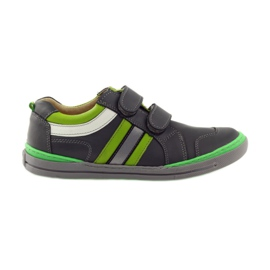 Shoes with a reflective element Bartuś green grey