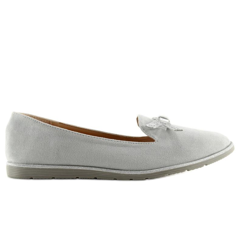 Women's loafers gray JN-182 gray grey
