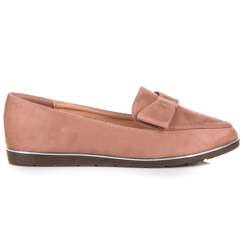 Suede loafers with a bow pink