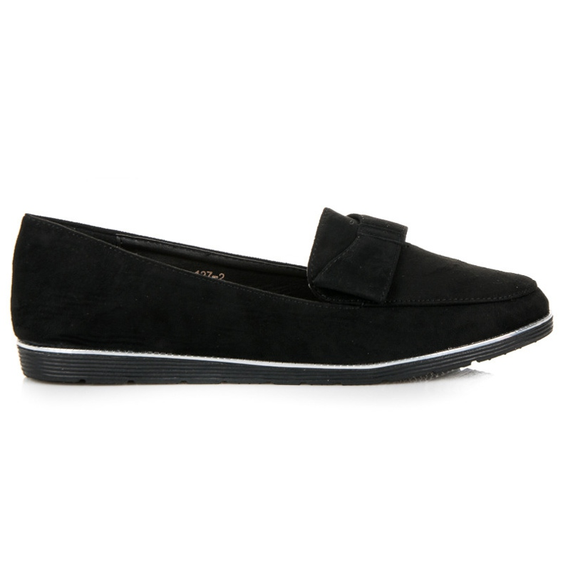 Suede Moccasins With Bow black