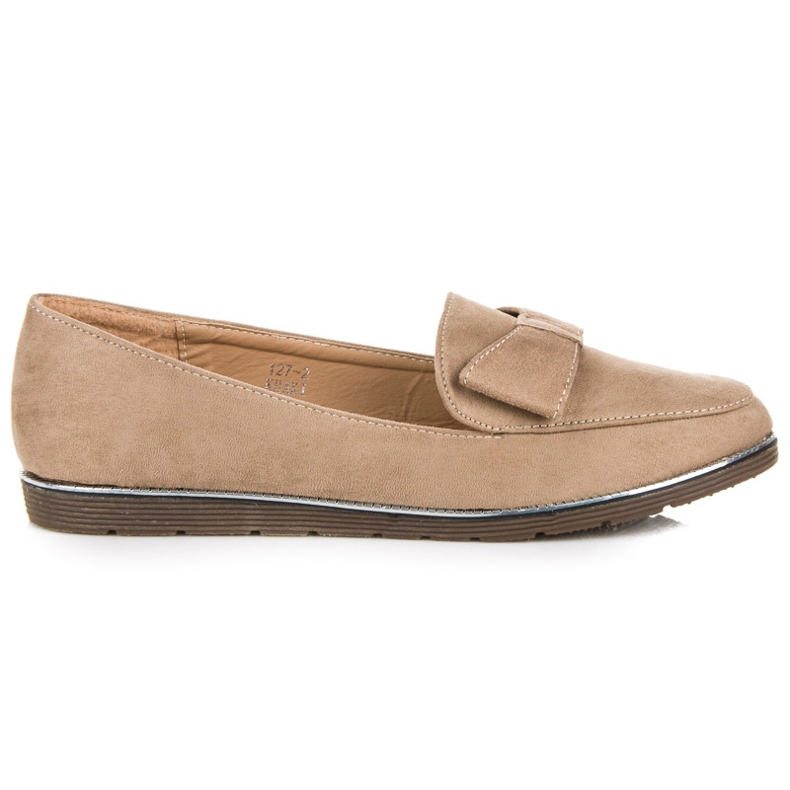 Suede Moccasins With Bow brown