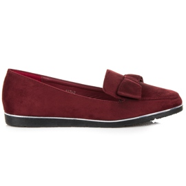 Maroon Loafers With Bow red