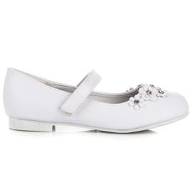 American Club White Ballerinas With Velcro