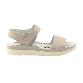 Filippo Comfortable sandals with beige velcro brown