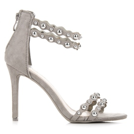 Vinceza Gray Sandals With Ornaments grey