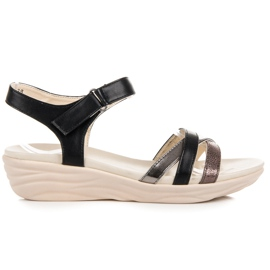 Kylie black Sandals with Velcro
