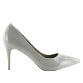 Gray varnished ladies' shoes LEI-83 Gray grey