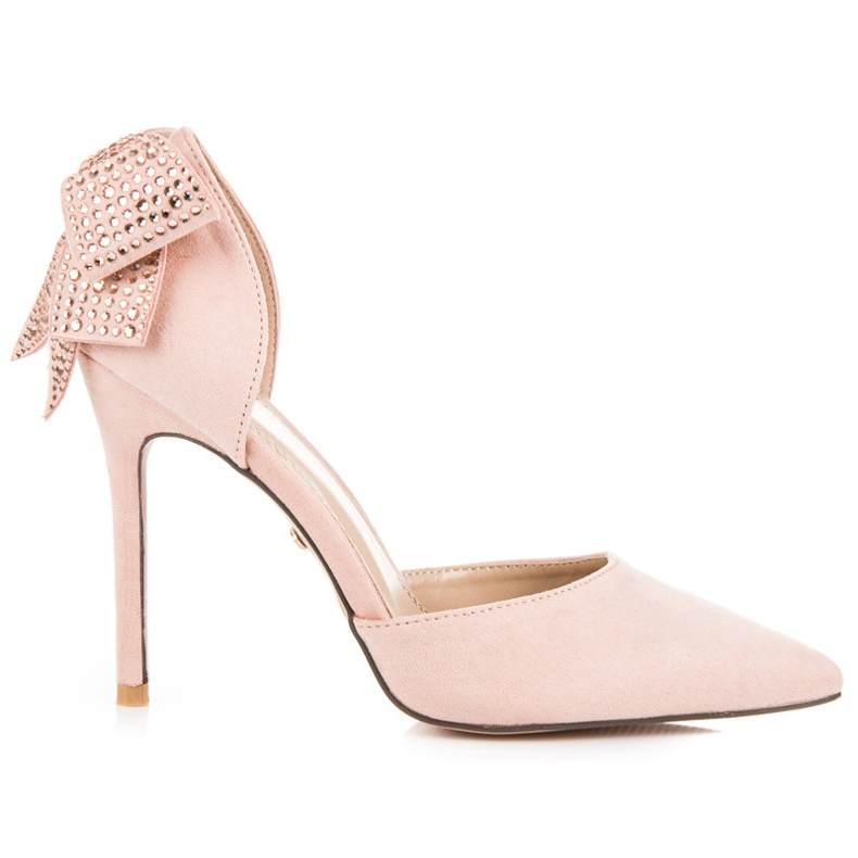 Seastar Suede heels with a bow pink