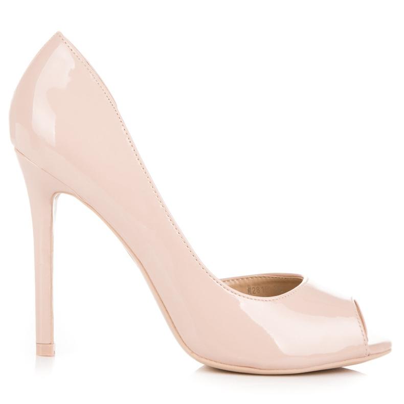 Seastar Lacquered open toe heels brown
