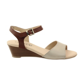 Caprice women's leather sandals 28213 brown