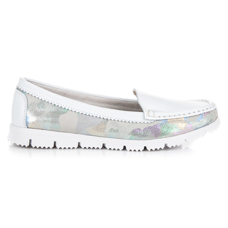 Vinceza Leather Moccasins With Pattern white