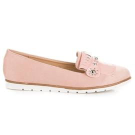 Seastar Suede Loafers With Fringes pink