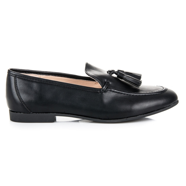Black Loafers With VICES Fringes