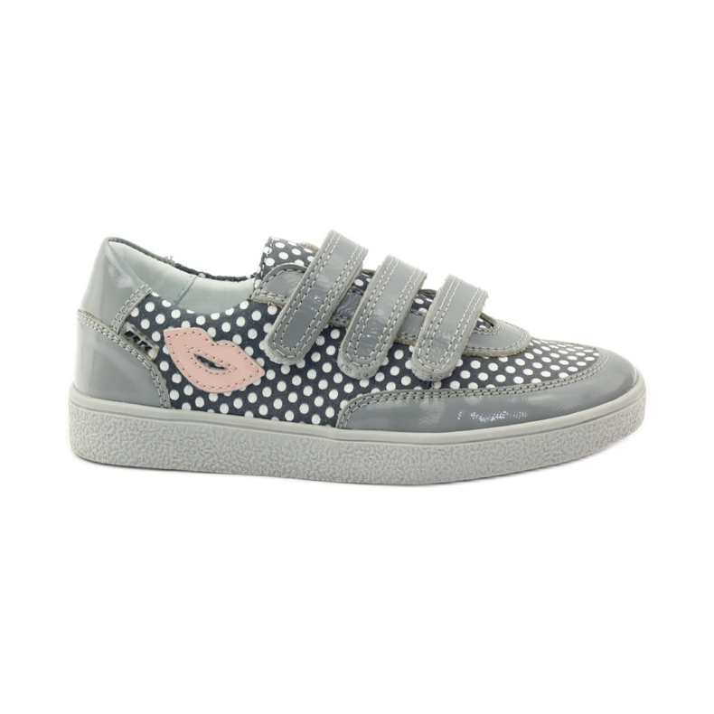 Bartek Gray Velcro Boots On Dots 35651 pink grey white