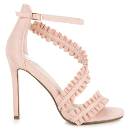 Seastar Sandals High Heels With A Frill pink