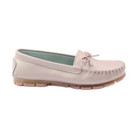 Leather moccasins with Filippo 004 bow pink