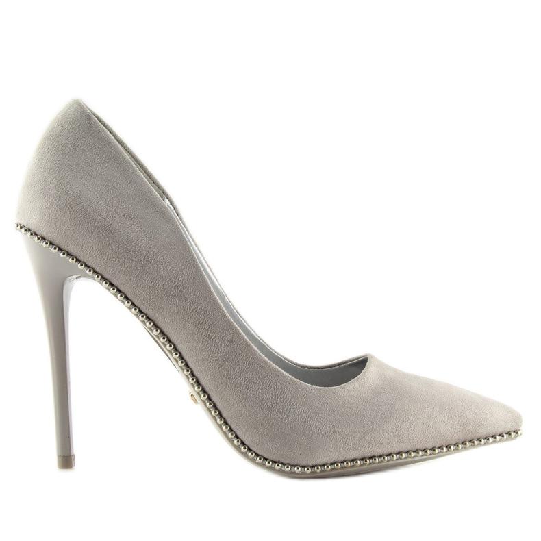 Elegant gray women's shoes NF-23P Gray grey