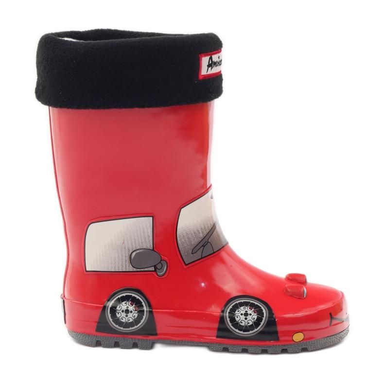 American Club Wellington boots sock plus RED CAR insert grey black