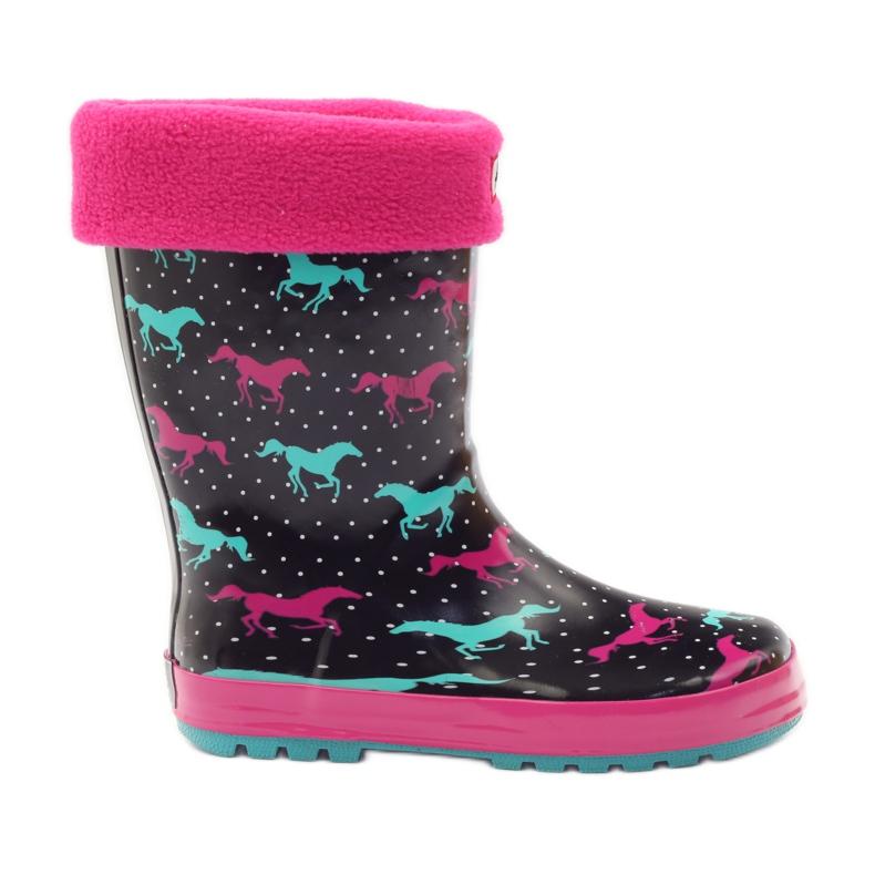 American Club Wellington boots socks + insert American horses black green pink