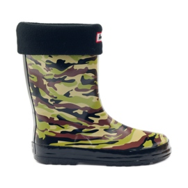 American Club Wellington boots sock + American camo insert green brown black
