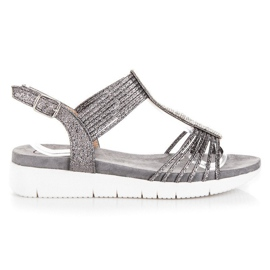 Kylie grey Sandals With crystals