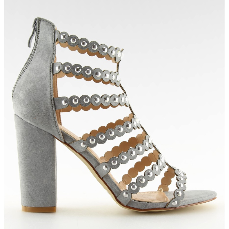 High heels with studs gray gray grey