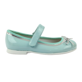 American Club green Ballerinas shoes with an American bow