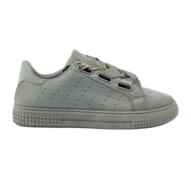 McKey grey Creepersy shoes tied with a gray ribbon