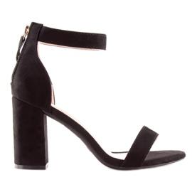 Sandals over wide heels black black