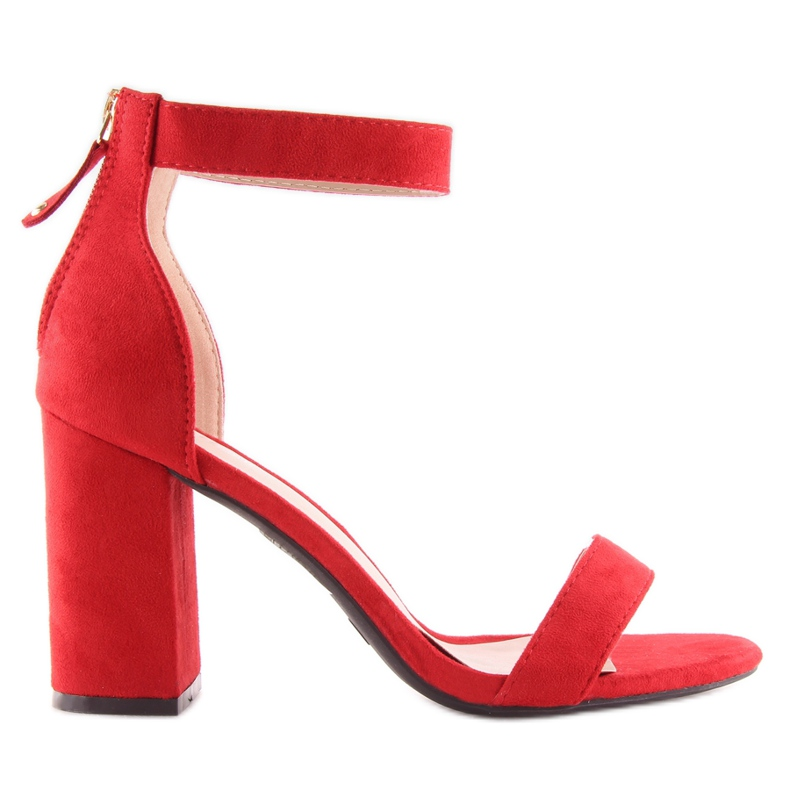 Sandals over broad heels red red