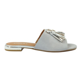 Slippers with fringes Badura 5133 gray grey