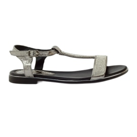 Daszyński grey Sandals with flat heels and zircons