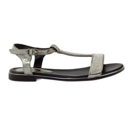 Daszyński Sandals with flat heels and zircons grey