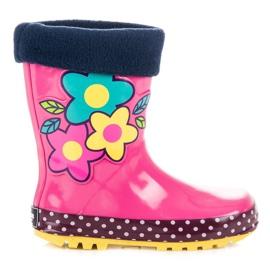 American Club Girls' galoshes in American flowers pink