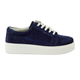 Navy Creepersy leather shoes Filippo 036