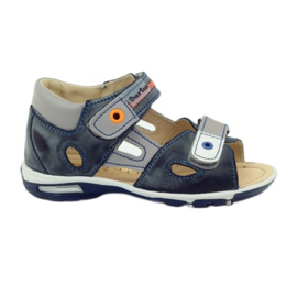 Grey Velcro sandals Bartuś 119 dark gray