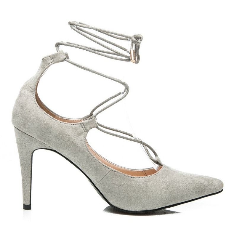 Vices Elegant high heels with a suede binding grey