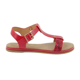 American Club Sandals American 052 leather insert red