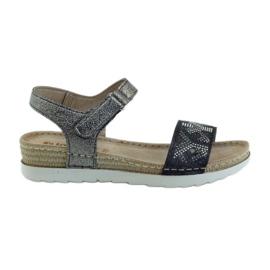 Grey Sandals comfortable INBLU silver-graphite