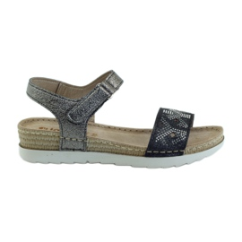 Sandals comfortable INBLU silver-graphite grey