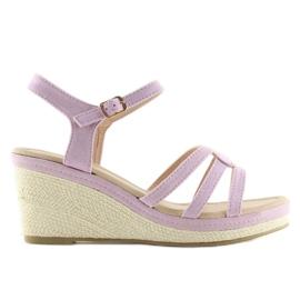 Violet Sandals on the low wedge heels purple SR-2817 Purple