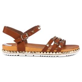 Anesia Paris brown Rock Flat Sandals