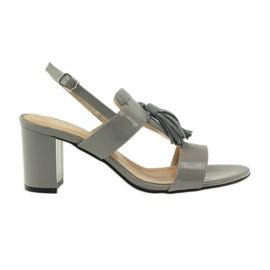 Grey Sandals with tassels Sagan 53224 gray