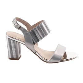 Grey Women's sandals on the Gamis 3390 silver pillar