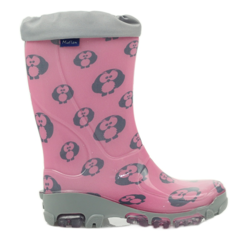 Ren But Owl owl galoshes with Ren-Silver ions grey pink