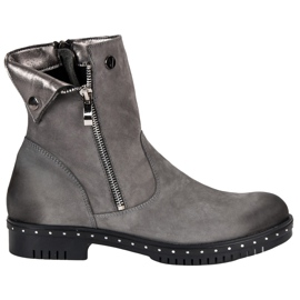 Gray Leather Boots from VINCEZA grey